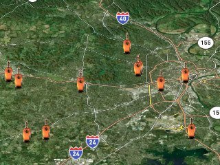Store locator map across multiple states